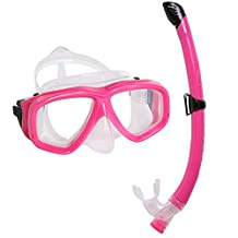 Snorkel Mask Set - KIDS Snorkeling Gear - Double Lens Diving Mask & Snorkel Semi Dry Top, Lower Purge Valve, Perfect for Diving, Snorkeling, Swimming -Ivation,Pink