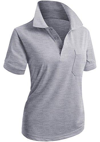 (CLOVERY Women's Single Color Design Short Sleeve Polo Shirts Melange US L/Tag L)