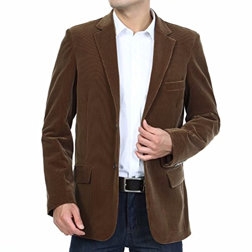 Men's Blazer Jacket Corduroy Sport Coat Smart Formal Dinner Cotton Jacket Slim Fit Two Button Notch Lapel Coat Coffee