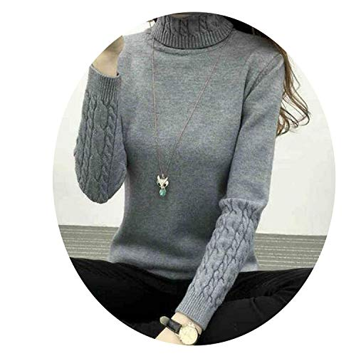 Thick Warm Women Turtleneck Winter Women Sweaters and Pullovers Knit Long Sleeve Cashmere Sweater,Gray,S (Cashmere Baby Doll Sweater)