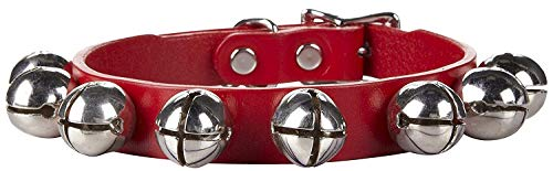 Auburn Leather Red Jingle Bells Christmas Pet Dog Collar 5/8