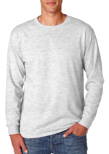 Shirt Ash Blend (Jerzees Men's Heavyweight Blend 50/50 Long Sleeve T-Shirt (Ash, Large))