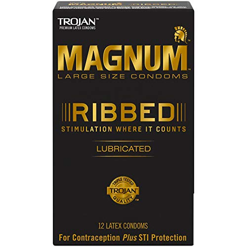 Trojan Magnum Lubricated Latex Condoms - Magnum Ribbed Condoms, 12ct
