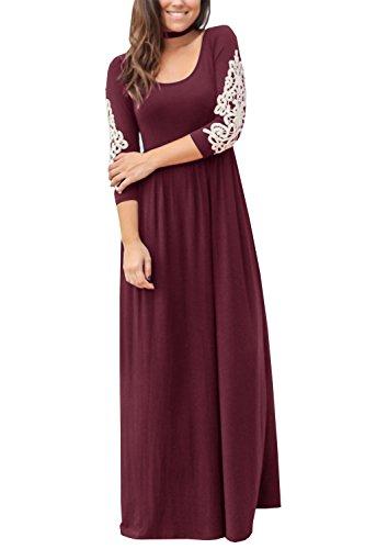 Maxi Lace Long Crochet Plain Dress Womens Burgundy Sheleau Sleeve Dresses Casual Party Loose HwqOxnSv
