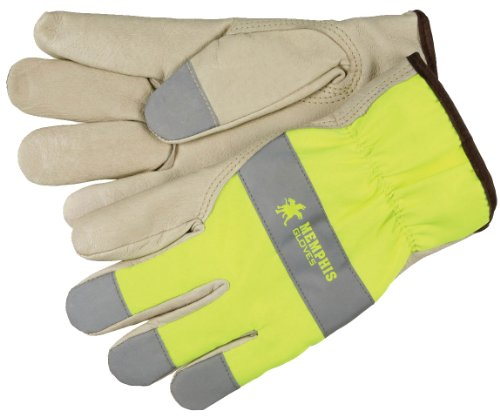 MCR Safety 3407L Grain Pigskin Driver Select Grade Gloves with Keystone Thumb and Silver Fingertips, Cream/Lime, Large, 1-Pair