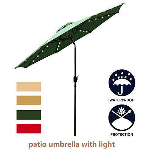 LEISURELIFE 9' Patio Umbrella with Solar Lights Outdoor - Green Patio Table Umbrellas,8 Sturdy Ribs,Solar Power (Outdoor Target Umbrellas)