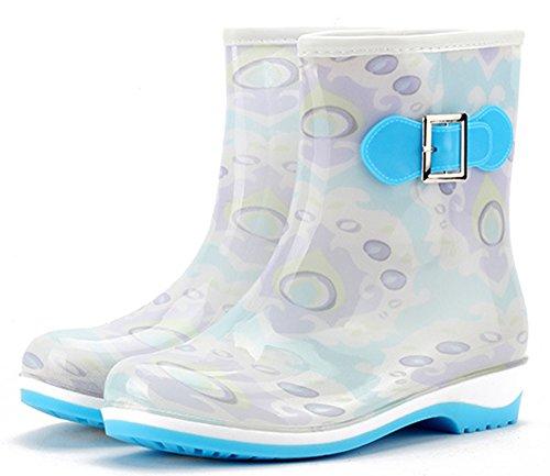 Idifu Damesschoenen Waterdichte Lage Hakken Korte Rubberen Laarzen Regenlaarzen Wellington Schoenen Blauw