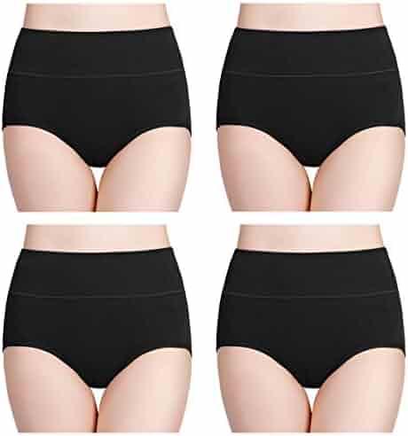wirarpa Women's Cotton Underwear High Waist Full Coverage Brief Panty Multipack