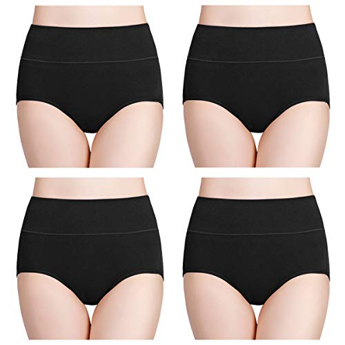 wirarpa Womens Cotton Underwear 4 Pack High Waist Briefs Light Tummy Control Ladies Comfort Stretch Panties Underpants Size M,Black