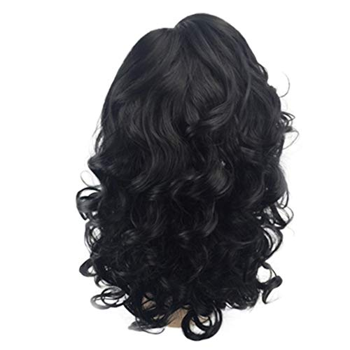 (NEEKEY Women Black Side Brazilian Short Wavy Curly Parting High Temperature Fiber Natural Wig)