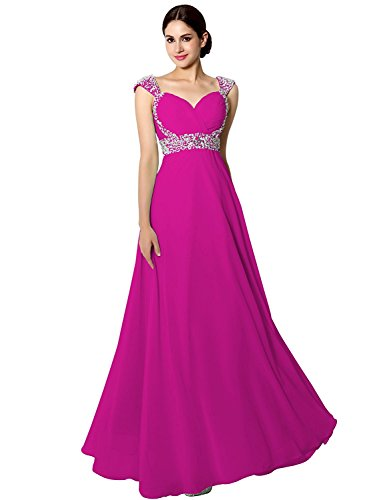 Sarahbridal Women's Beaded Bridesmaid Dress Long 2019 Chiffon Prom Ball Gowns with Sleeve Fuchsia US20