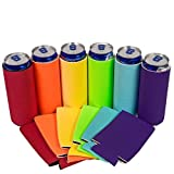 QualityPerfection - 6 Multi Color Slim Can Cooler Sleeves - Beer Blank Skinny 12 oz Neoprene Coolies - Perfect For 12 oz Slim Red Bull, Michelob Ultra, Spiked Seltzer,Truly,White Claw Larger Image