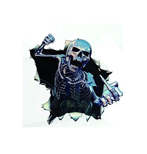 Boodecal 3D Skeleton Break Through Auto Vinyl Decals Vivid Human Skull Car Decals -