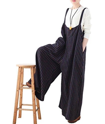 YESNO PH3 Women Long Wide Legs Overalls Loose Pinstriped Jumpsuits Rompers Lined Plus Size/Pockets, Blue, One Size (Pinstripe Pant Suit Wool)