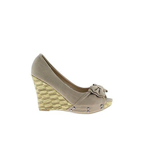 Chaussures compensées taupe talon de 9cm