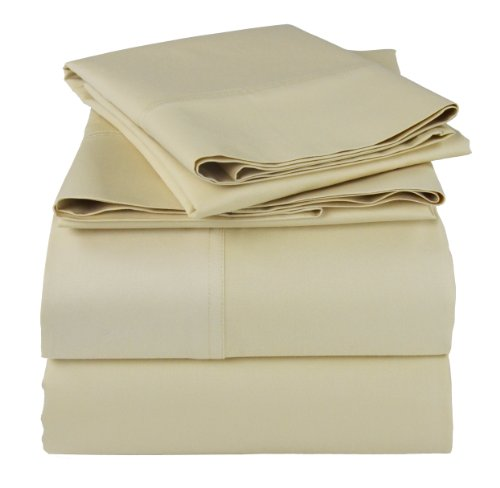 Empress Silk Cotton/Rayon Bamboo Sheets Set - Queen - Beige