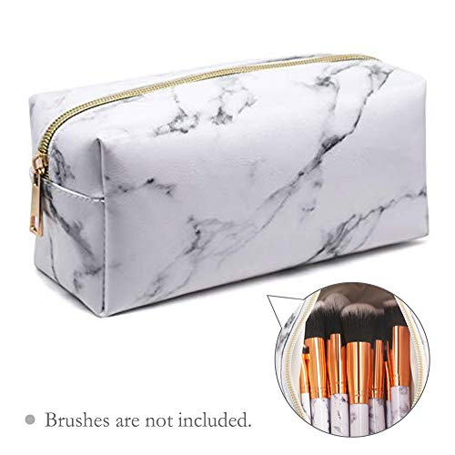 Marble Makeup Bag Portable Cosmetic Bag Travel Storage Bags with Gold Zipper Pencil Storage Case for Women Makeup Brush Bag (7.5x3.5x2.8)