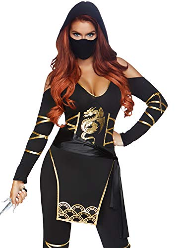 Leg Avenue Women's 3PC.Stealth Ninja, Black/Gold, Large