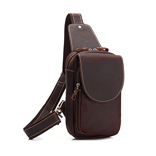 Everyday Bags Personality Multipurpose Genuine Asdflina Travel Shoulder For Use Brown Chest Crossbody Men Coffee Business Bag color Suitable Leather Casual IqZwwSY