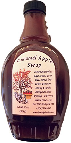 Caramel Montana Apple Breakfast Syrup - 11 oz Real Fruit Grown & Hand Picked from Bounty Foods for Cocktails  - Coffee -  Pancakes- Dessert Topping - Gluten-Free - -