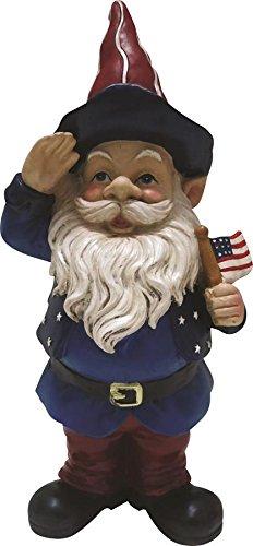 Alpine Corporation ZEN126S Americana Saluting Gnome w/Flag, 12 Inch Tall, 12