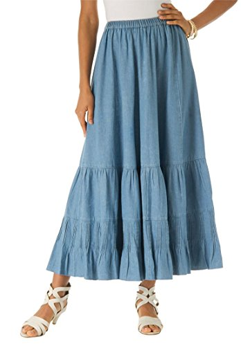 Roamans Women's Plus Size Provencial Denim Skirt Light Stonewash,18 (Denim Twill Skirt)