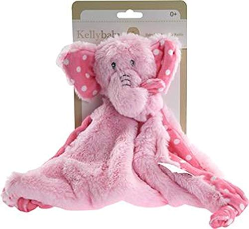 - Pink Elephant Security Blanket with Rattle Polka Dot Accents