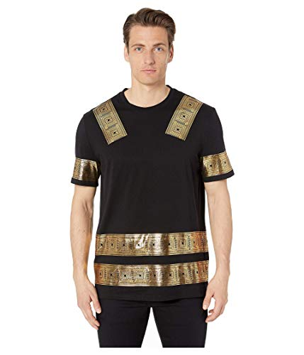 Versace Collection Men's Gold Printed T-Shirt Nero/Stampa Small (Versace Tshirt Men)