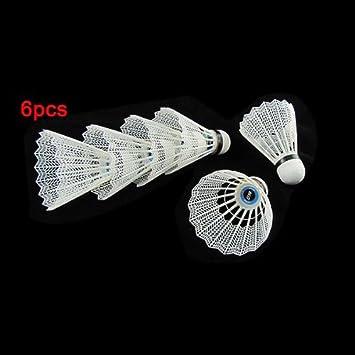 Bälle 6 Stueck feine sportliche weiche Kunststoff Badminton Federball weiss