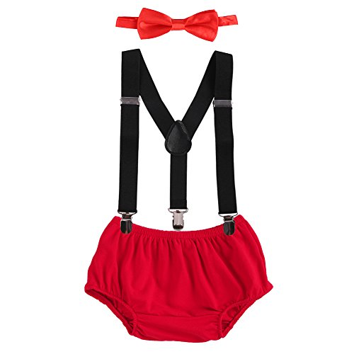OBEEII Cake Smash Outfits Baby Boy 1st Birthday Party Suspenders Diaper Nappy Cover Bow Tie Red & -