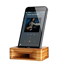 Cell Phone Stand, ARCHEER iPhone Stand Holder Bamboo Wood Phone Dock with Sound Amplifier, Natural Bamboo Stands for iPhone 7, iPhone 6s, iPhone 6 Plus and Android Smartphones Within 5.5 Inches