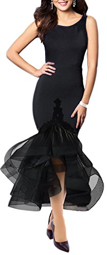 Women's Plus Size Rounded Neckline Dress Sexy Cowl Back Top A Darted Black 3XL
