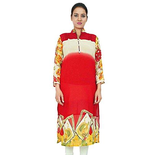 Manga de la túnica de cuello Nehru Kurti completa Georgette ropa india mujeres del desgaste Rojo