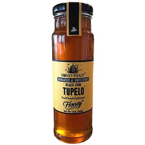 Black Gum TUPELO Honey - 12oz Glass Jar. Raw, Unheated, Unfiltered USA Honey Feast brand honey. Hand crafted small batch beekeeper honey from Florida. USA (Florida Tupelo Honey)