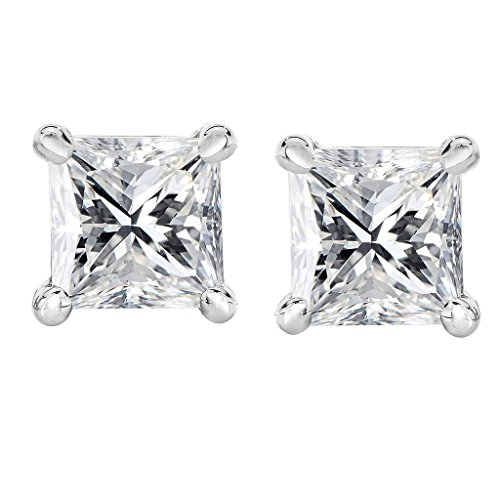 Bright White Princess cut Diamond stud Screw Back 14K White Gold (0.04ct, Color-FGH, (0.04 Ct Diamond Fashion)