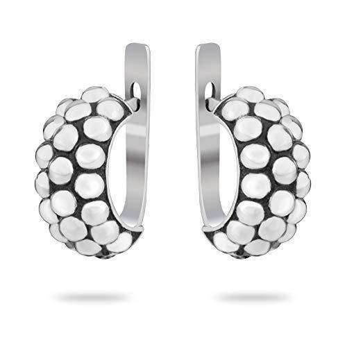 925 Sterling Silver Modern Hoop Caviar Granule Texture Earrings Stylish Elegant Everyday Basic Minimalist Designer Jewelry for Women Girls