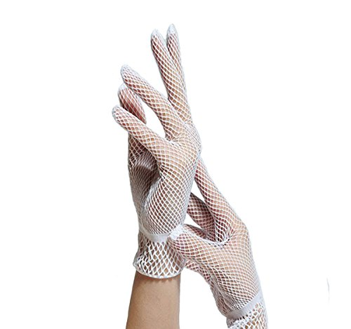 [ICOOLYI Women's Sexy and Sunscreen Wrist Length Fishnet Gloves (2 pairs) (White)] (Plus White Gloves)