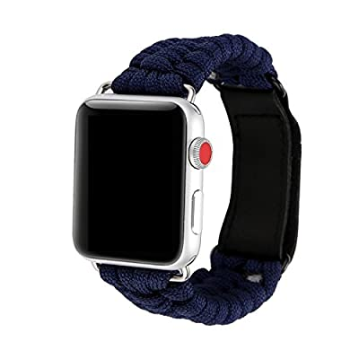 Juzzhou Watch Band For Apple Watch iWatch 38mm/42mm Series 1/2/3 Weave Replacement With Metal Adapter Magic Buckle