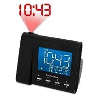 Reloj de alarma de proyección Magnasonic con radio AM /FM, batería de respaldo, ajuste automático de hora, alarma doble y entrada de audio de 3.5 mm