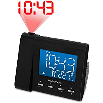 Magnasonic Projection Alarm Clock with AM/FM Radio, Battery Backup, Auto Time Set, Dual Alarm & 3.5mm Audio Input