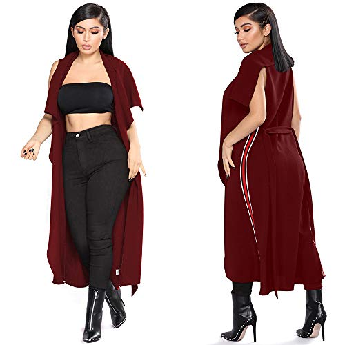 YKA 2018 Women's Fashion Casual Open Front Cape Sleeveless Solid Trench Duster Coat Longline Blazer by YKA (Image #1)