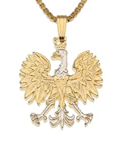 Polish Eagle Pendant & Necklace, Poland 10 Zlotych Hand Cut Coin