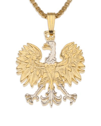 - Polish Eagle Pendant & Necklace, Poland 10 Zlotych Hand Cut Coin