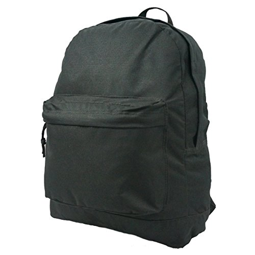 Wholesale Classic Backpack 16 inch Basic Bookbag Bulk Cheap Case Lot of 40pcs Simple Schoolbag Promotional Backpacks Low Price Non Profit Giveaway Student School Book Bags Vintage Daypack Black
