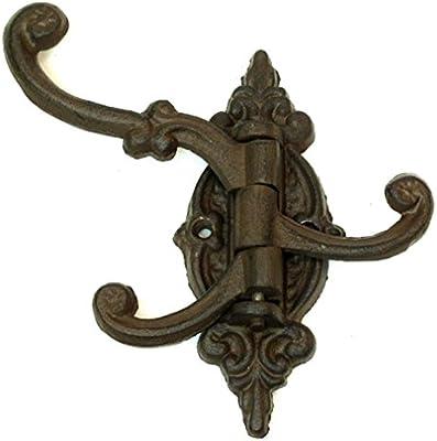 Brown Cast Iron Victorian Swivel Hook 5 Arm Wall Rack ~ 15 Hooks