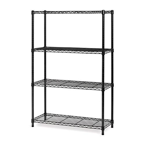 - Seville Classics 4-Tier Black Epoxy NSF Steel Wire Shelving, 14