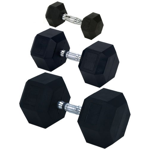 Champion Barbell Rubber Encased Solid Hex Dumbbell 20028395EA-P