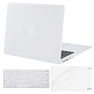 MOSISO Plastic Hard Case Shell with Keyboard Cover with Screen Protector Compatible MacBook Air 13 Inch (Models: A1369 and A1466), White