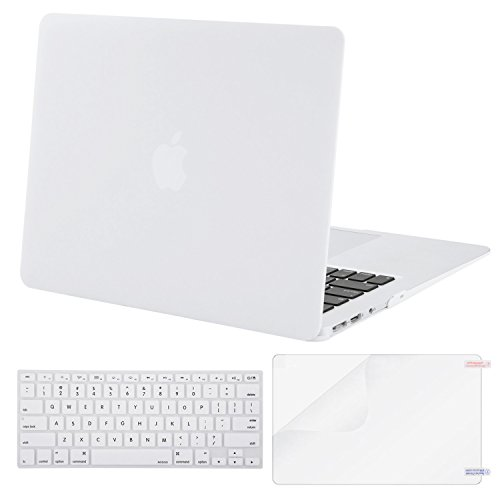 White Plastic Cover - MOSISO Plastic Hard Case Shell with Keyboard Cover with Screen Protector Compatible MacBook Air 13 Inch (Models: A1369 and A1466), White