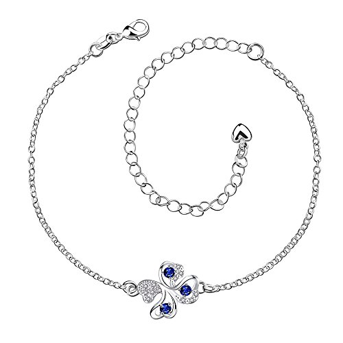 - GYAYA Zircon Silver Plated Anklets for Heart Shaped Lucky Clover Flowers (Clover)